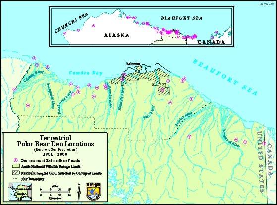 Anwr Alaska Map.Anwr Polar Bear Denning Map