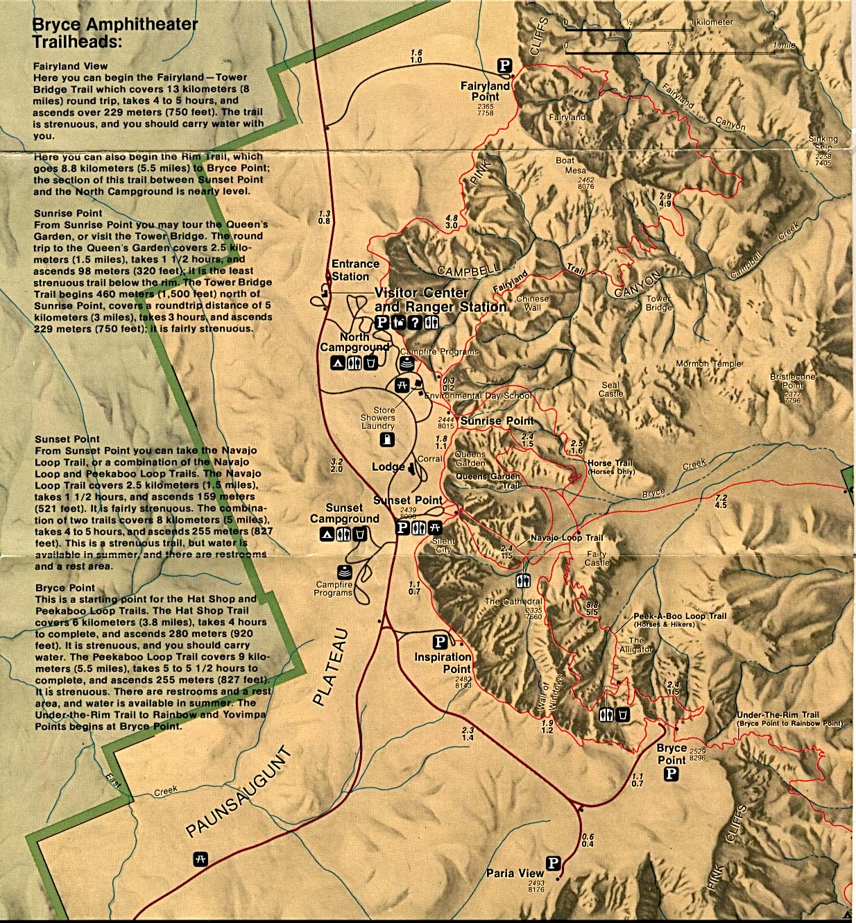 bryce canyon national park (park map) . free download utah national park maps