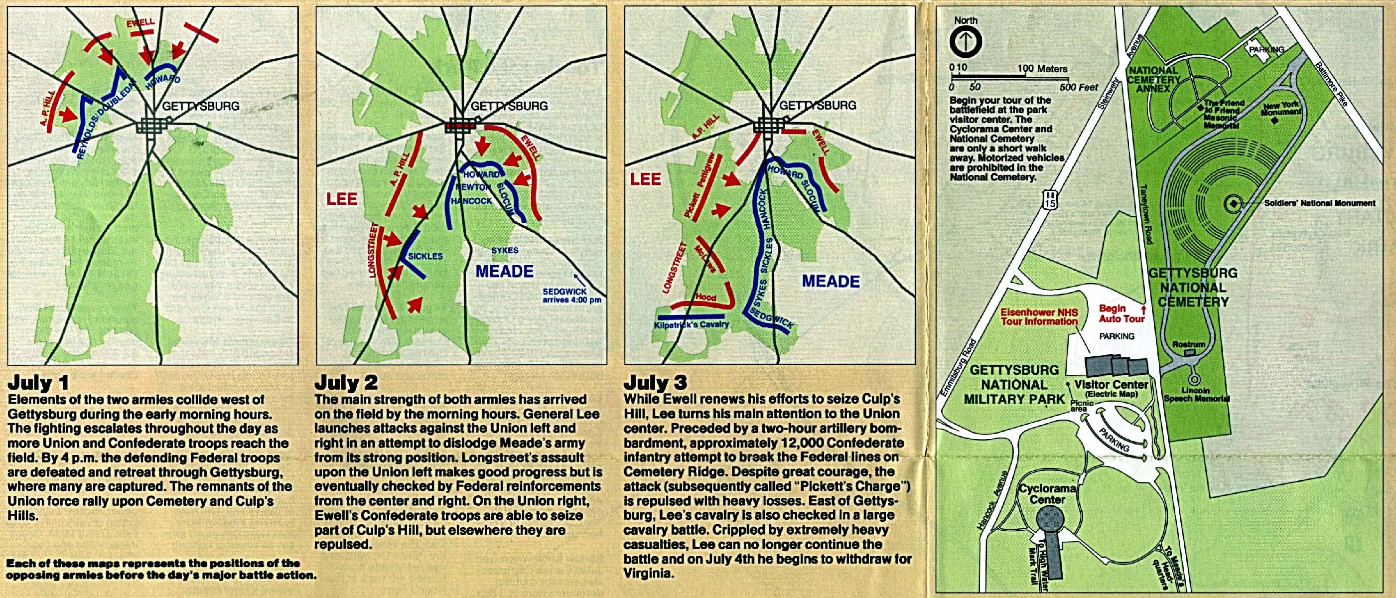 Free Download Pennsylvania National Park Maps - Battle of gettysburg map us
