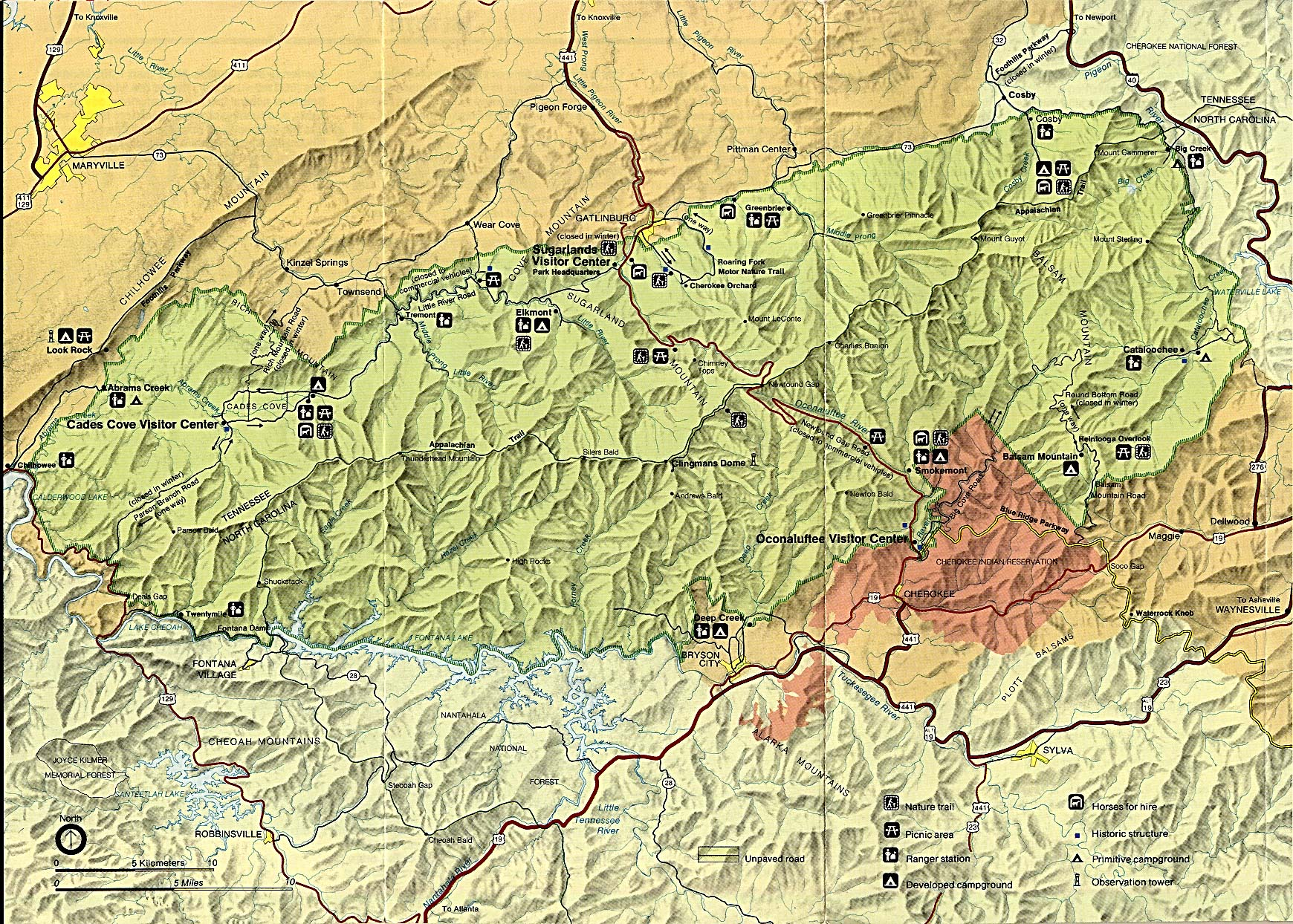 Free Download Tennessee National Park Maps - Us national parks map pdf