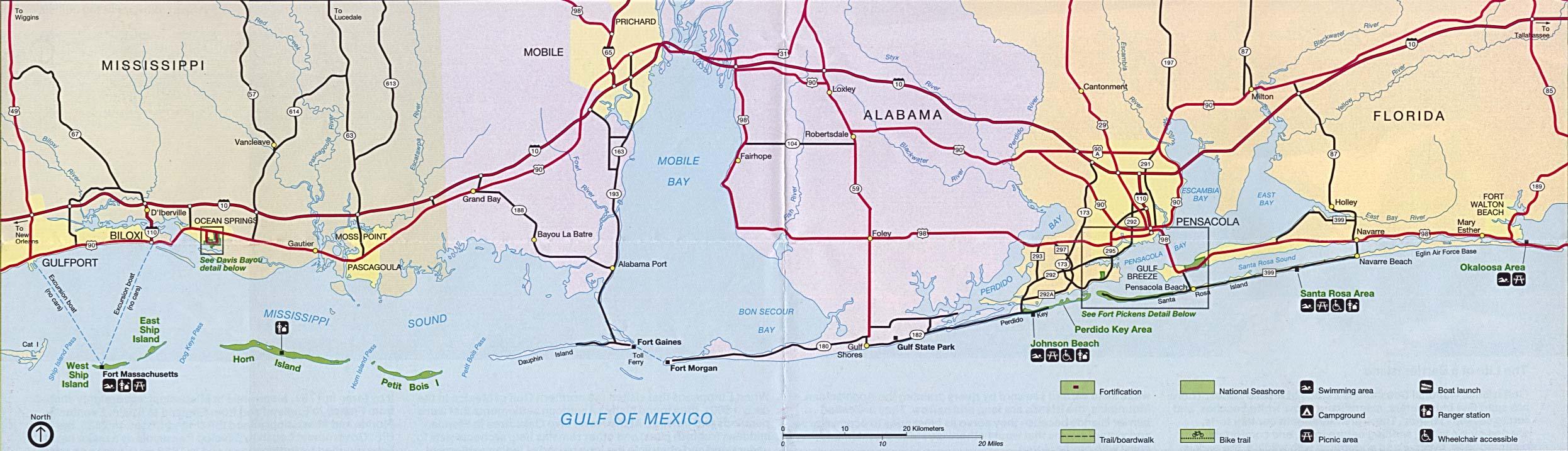 Map Of Alabama And Florida.Free Download Florida National Park Maps