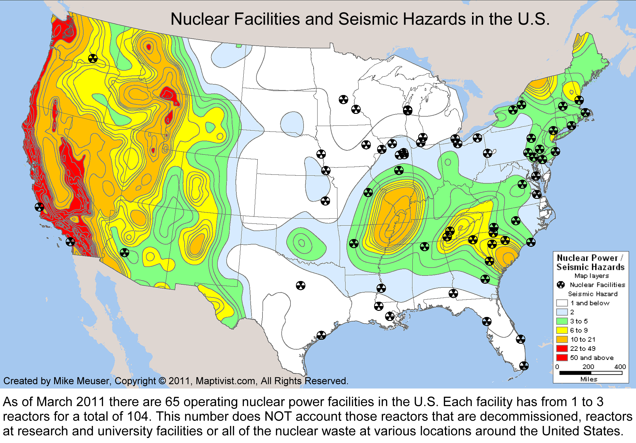 US Nuclear Reactor Power Plant Seismic Hazard Earthquake - Map of all nuclear power plants in the us