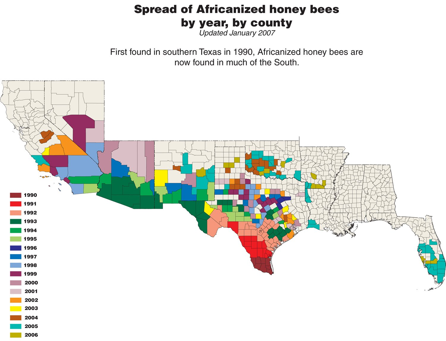 Updated maps of africanized honey bees spread download a larger version 1500 by 1150 pixels 194 k gumiabroncs Image collections