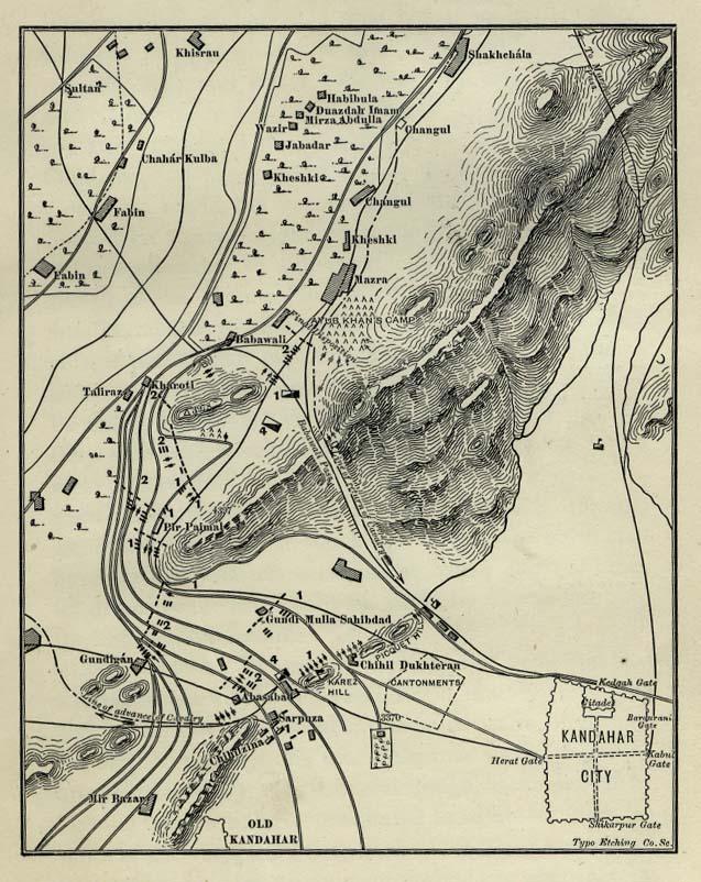 Battle of Kandahar Map 1892 Cartography Cartografa
