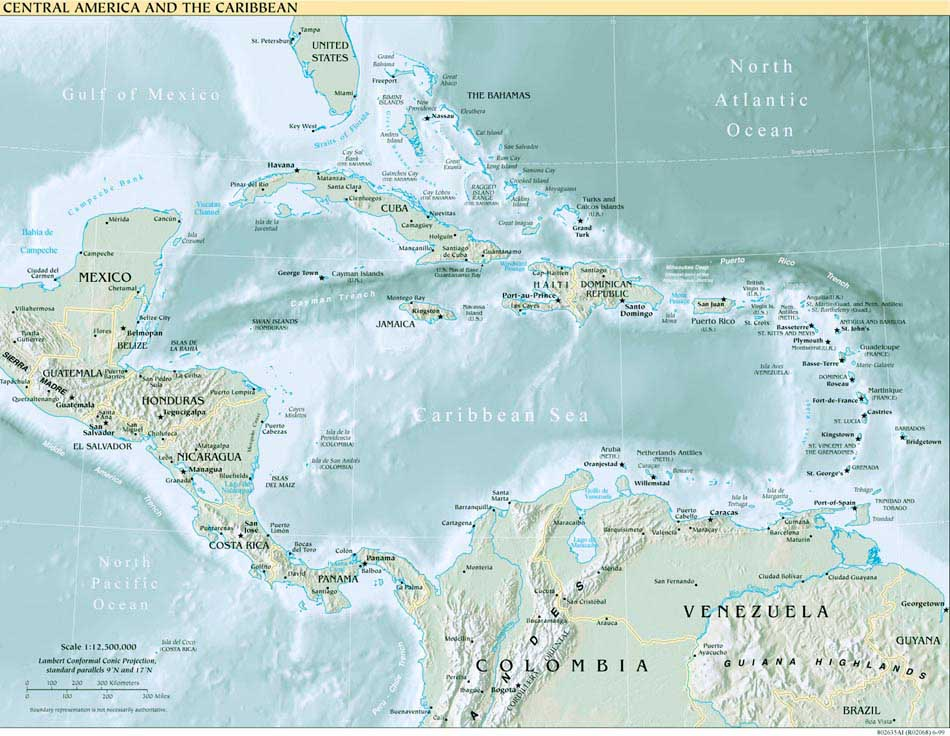 Free Download Americas Maps - Central america physical map 2007