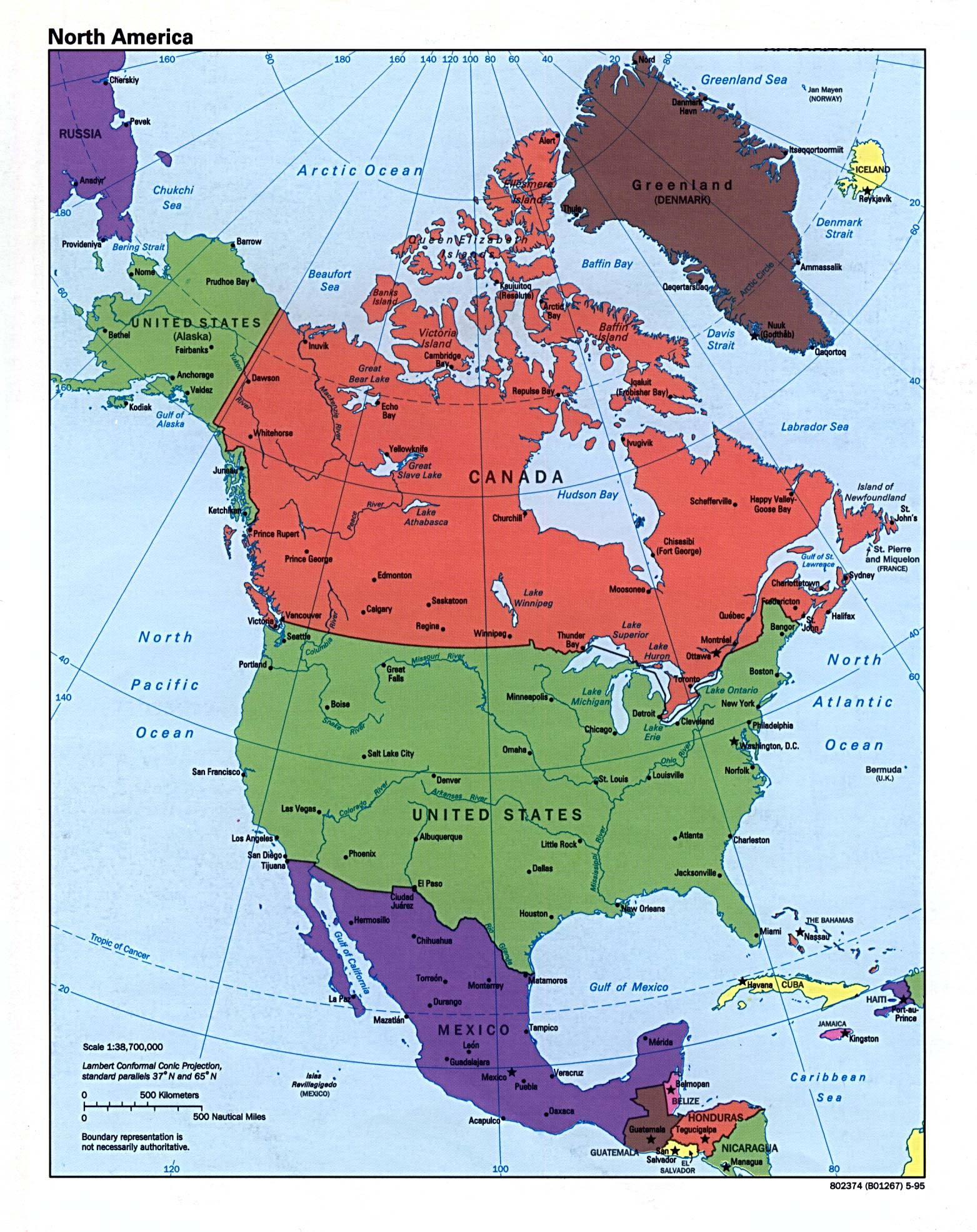 Free Download Americas Maps - Map of central and north america with capitals