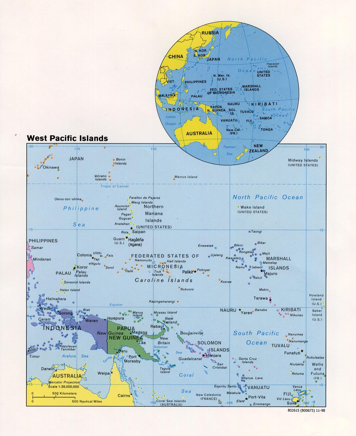 Free Download Australia Oceania Maps - Physical map of oceania