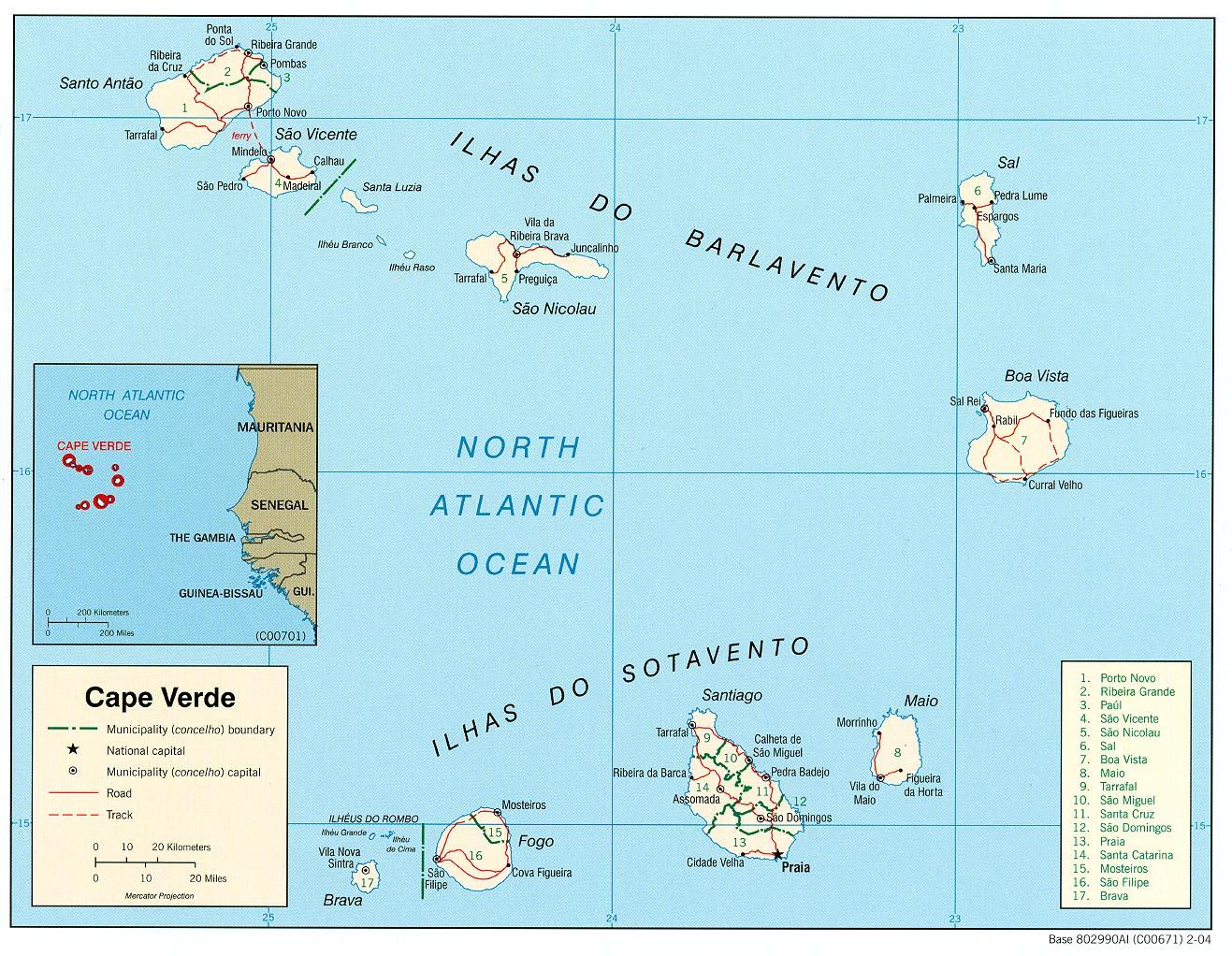 mapa de cabo verde Free Cape Verde Maps mapa de cabo verde