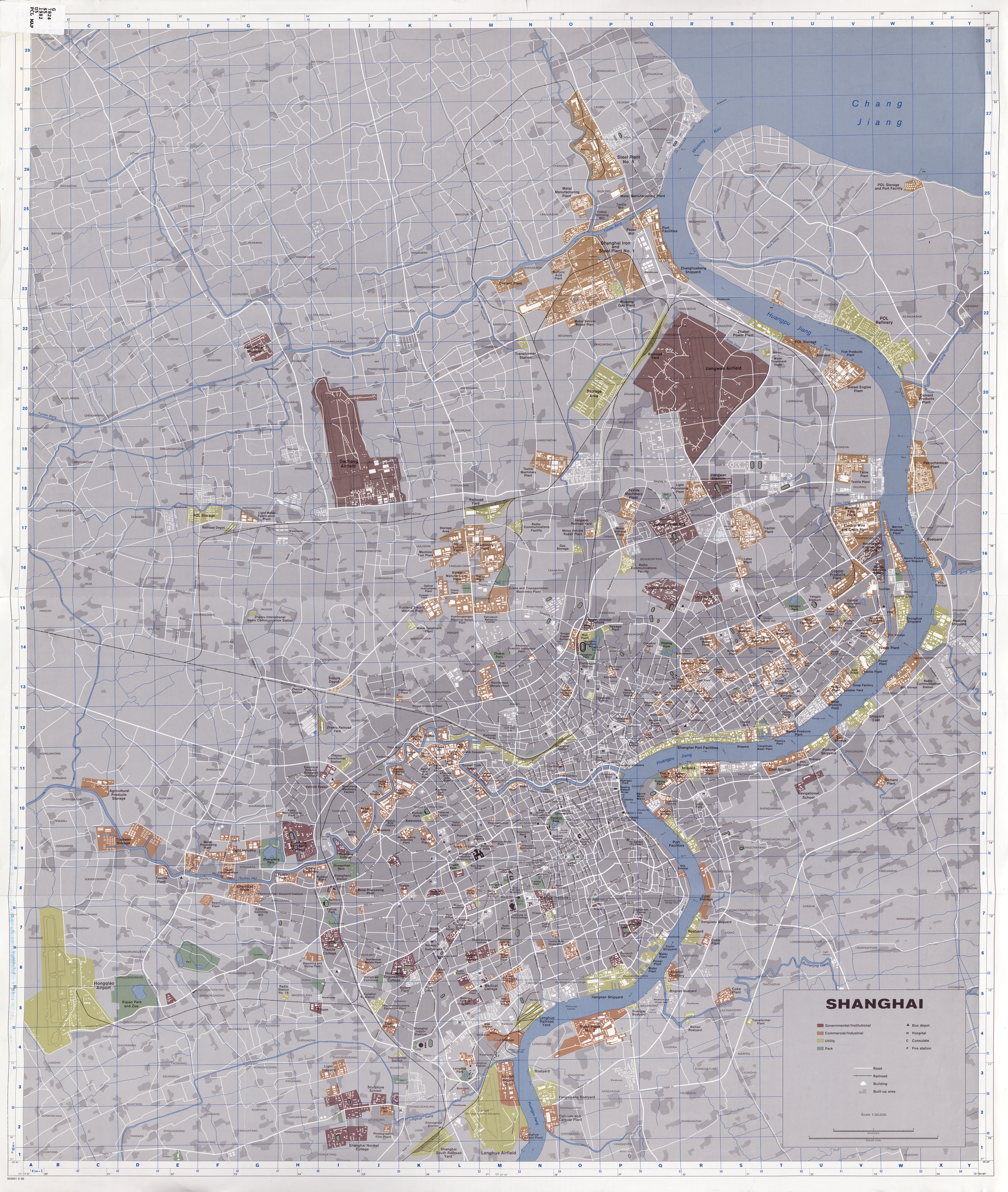 Shanghai Street Map Cia's Map of Shanghai — in