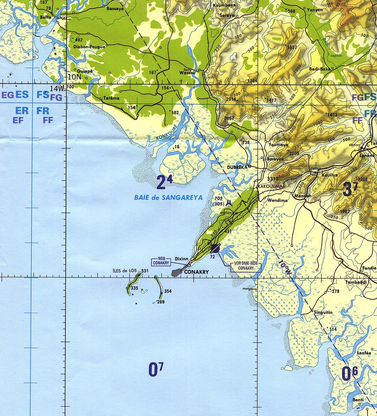 U S Army Map Service Corps Of Engineers 1964 1 2mb Conakry Area Tactical Pilotage Chart 1 500 000