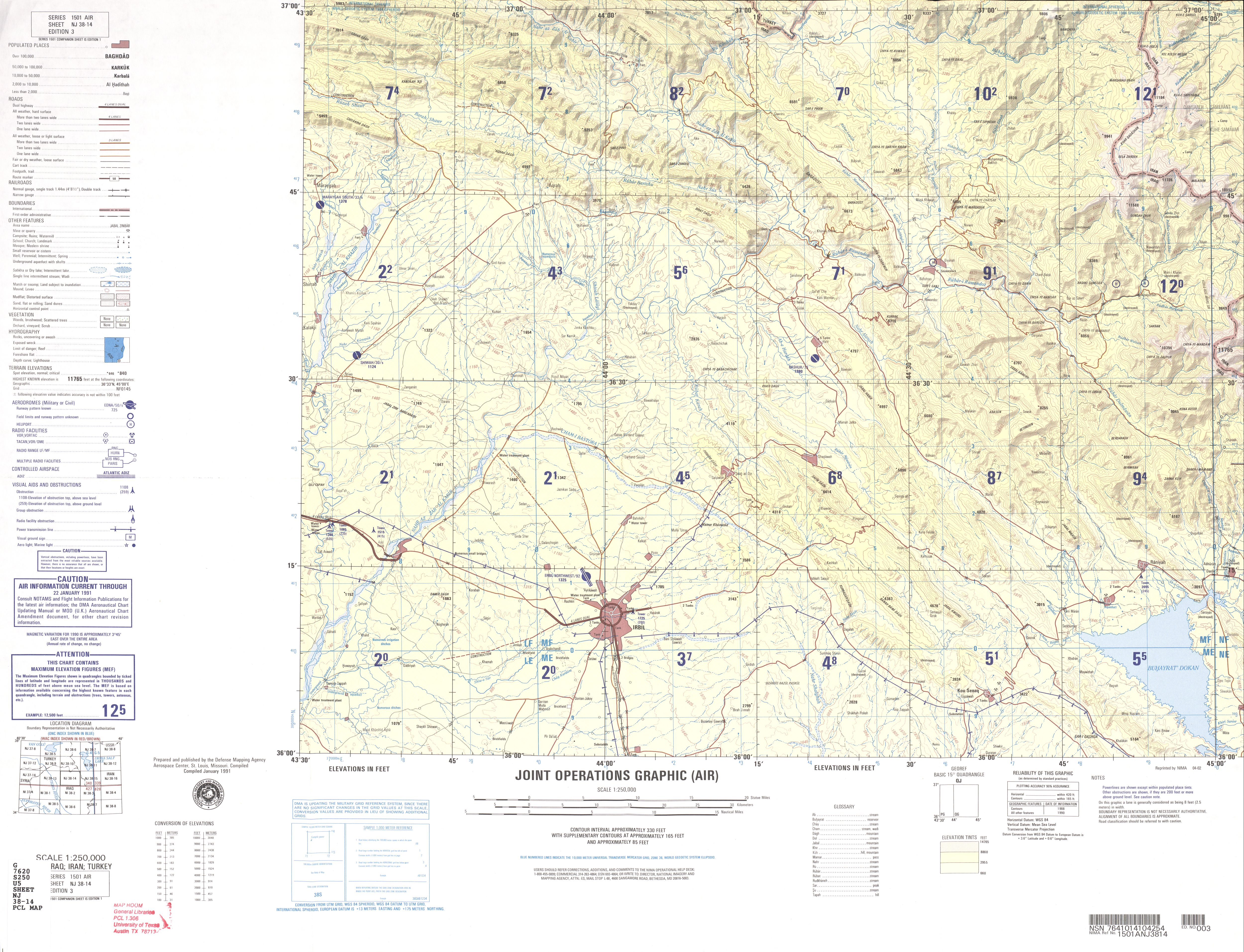 Irbil Region Joint Operations Graphic Original Scale 1 250 000 Defense Mapping Agency Series 1501