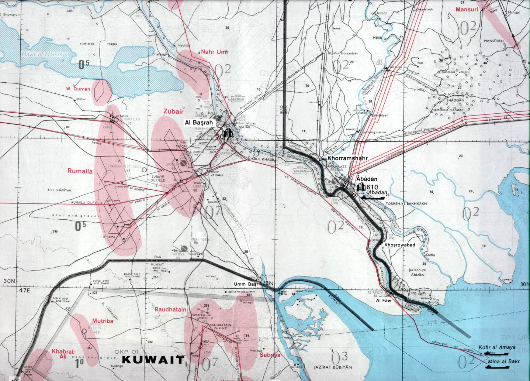 Download free kuwait maps al basrah region iraq including northern kuwait sciox Gallery