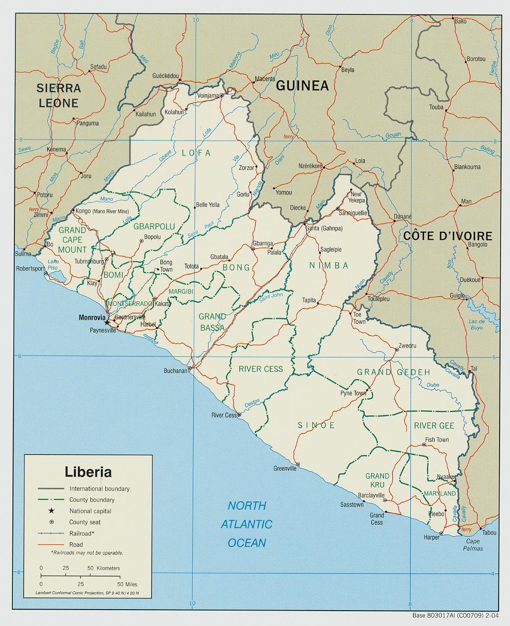 Download Free Liberia Maps - Liberia map