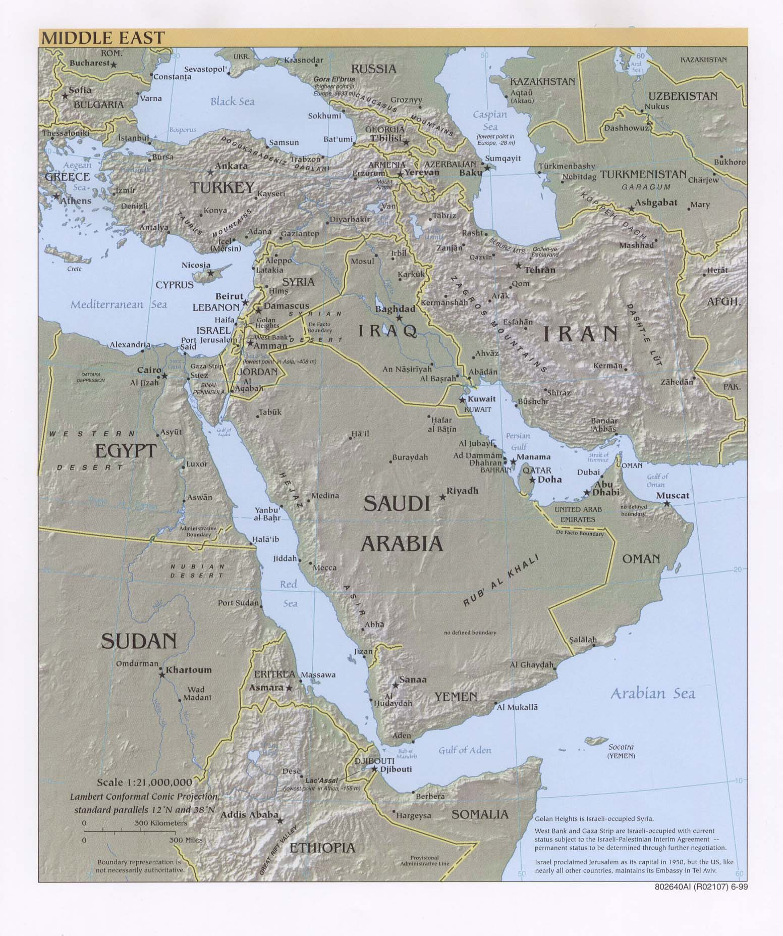 Labeled Physical Map Of Middle East Photo Gallery For Photographers ...