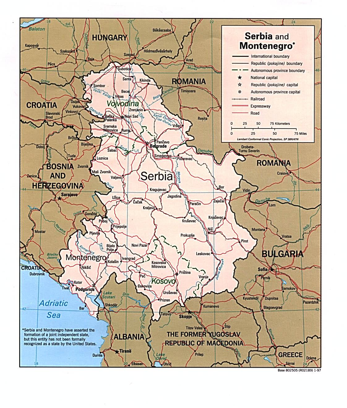 Download Free Montenegro Serbia Yugoslovia Maps