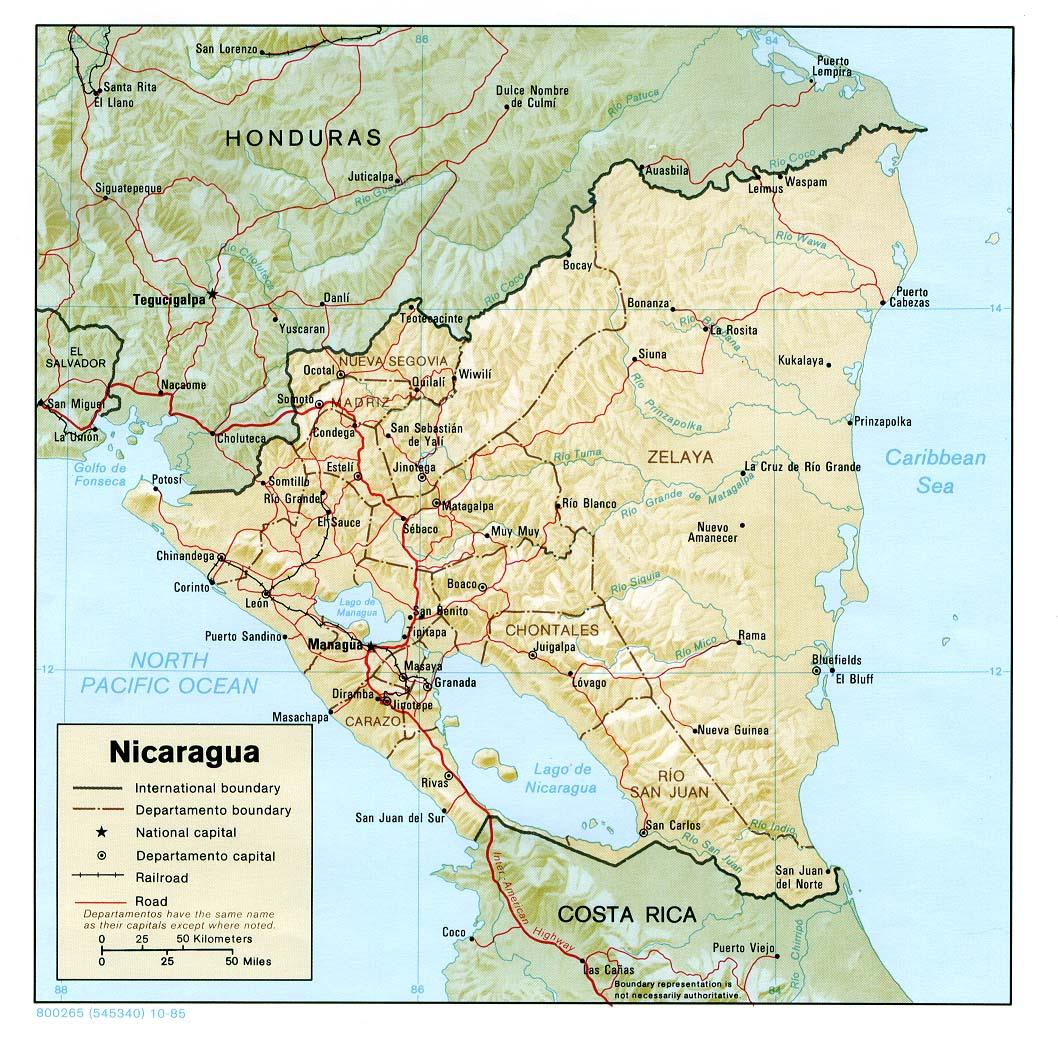 Download Free Nicaragua Maps - Nicaragua map download