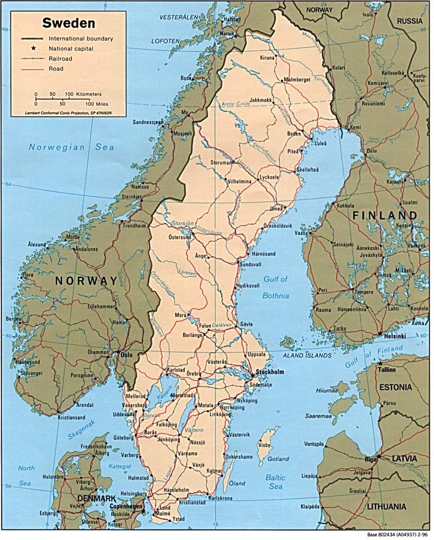 Download Free Sweden Maps - Sweden road map download