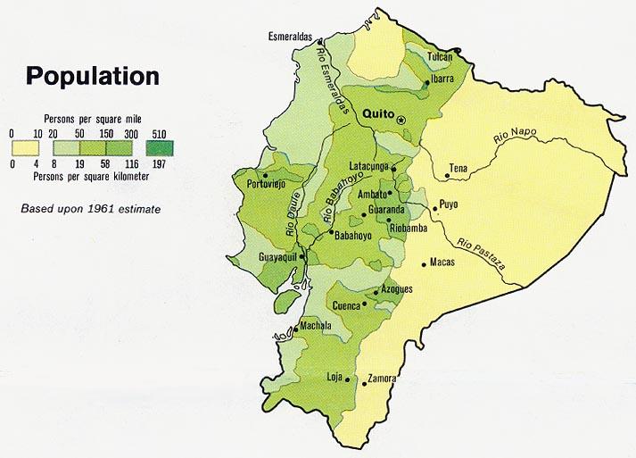 World Map Ecuador. Ecuador - Population from Map