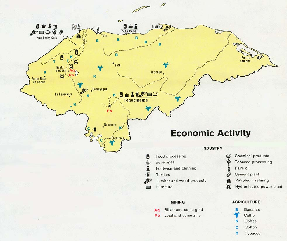 Download free world industry and economy maps honduras economic activity gumiabroncs Choice Image