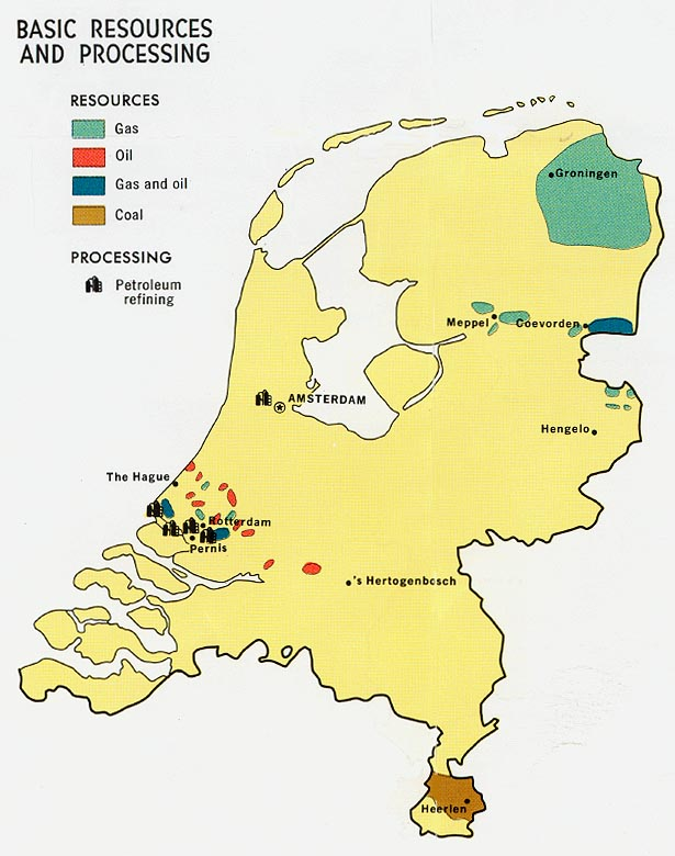 netherlands basic resources and processing from map
