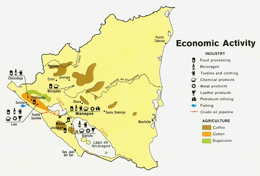 Download Free World Industry And Economy Maps - Nicaragua map download