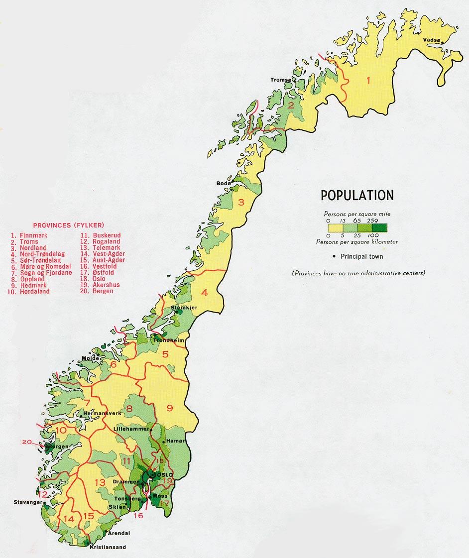 Download Free World Population Maps - Norway map population density
