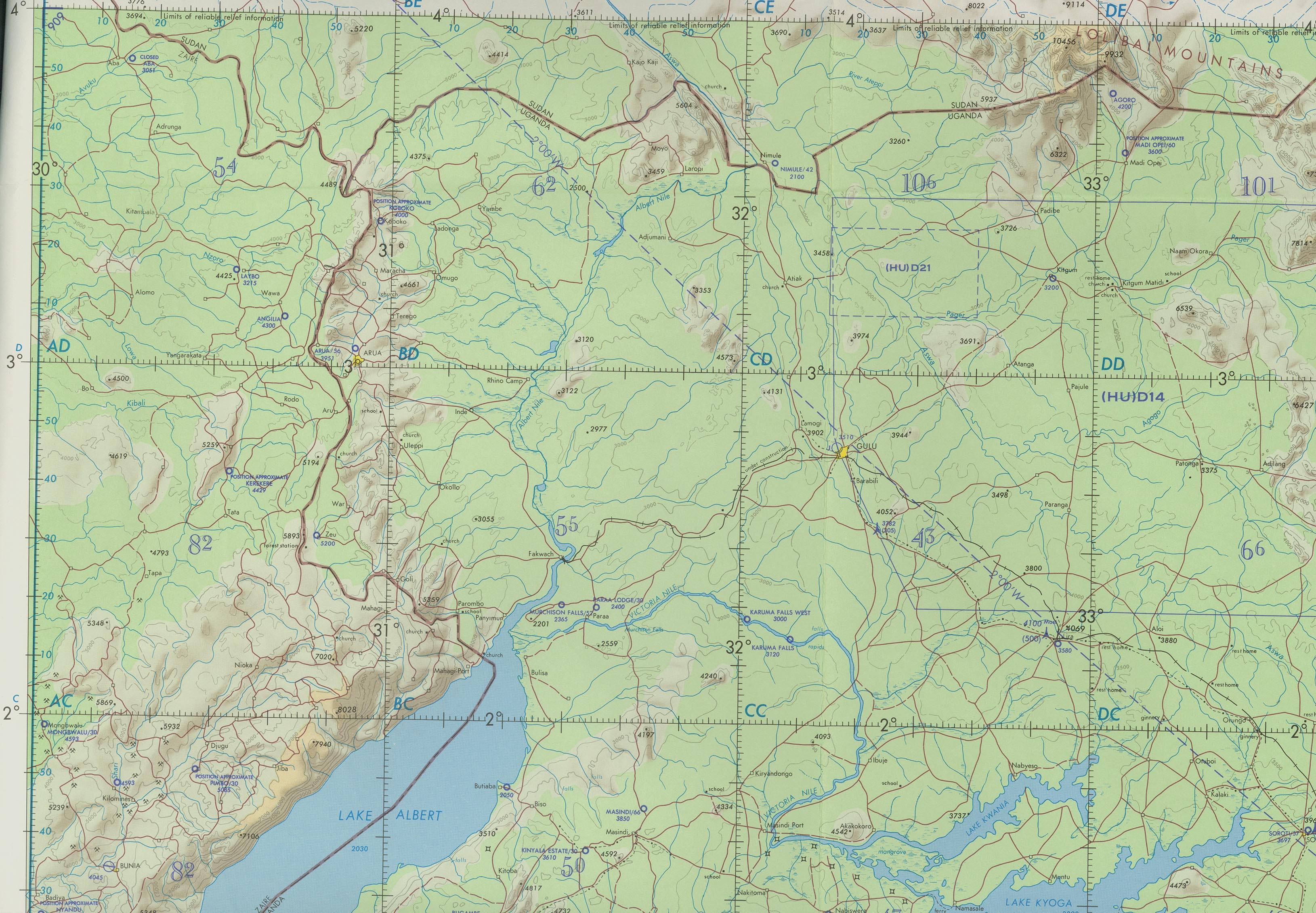 Download free uganda maps uganda north operational navigation chart gumiabroncs Gallery