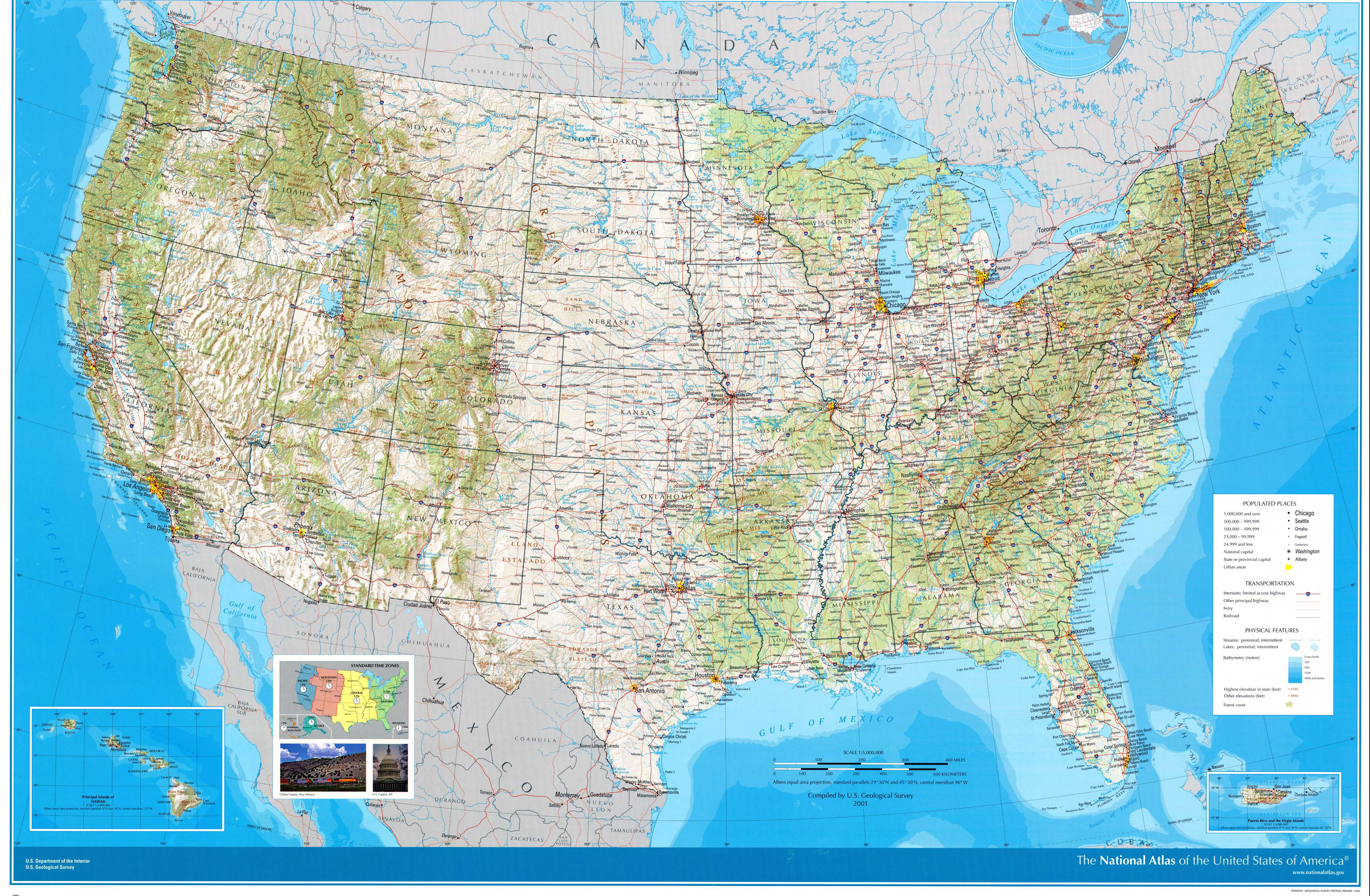Download Free United States Maps - Eastern us topographic map