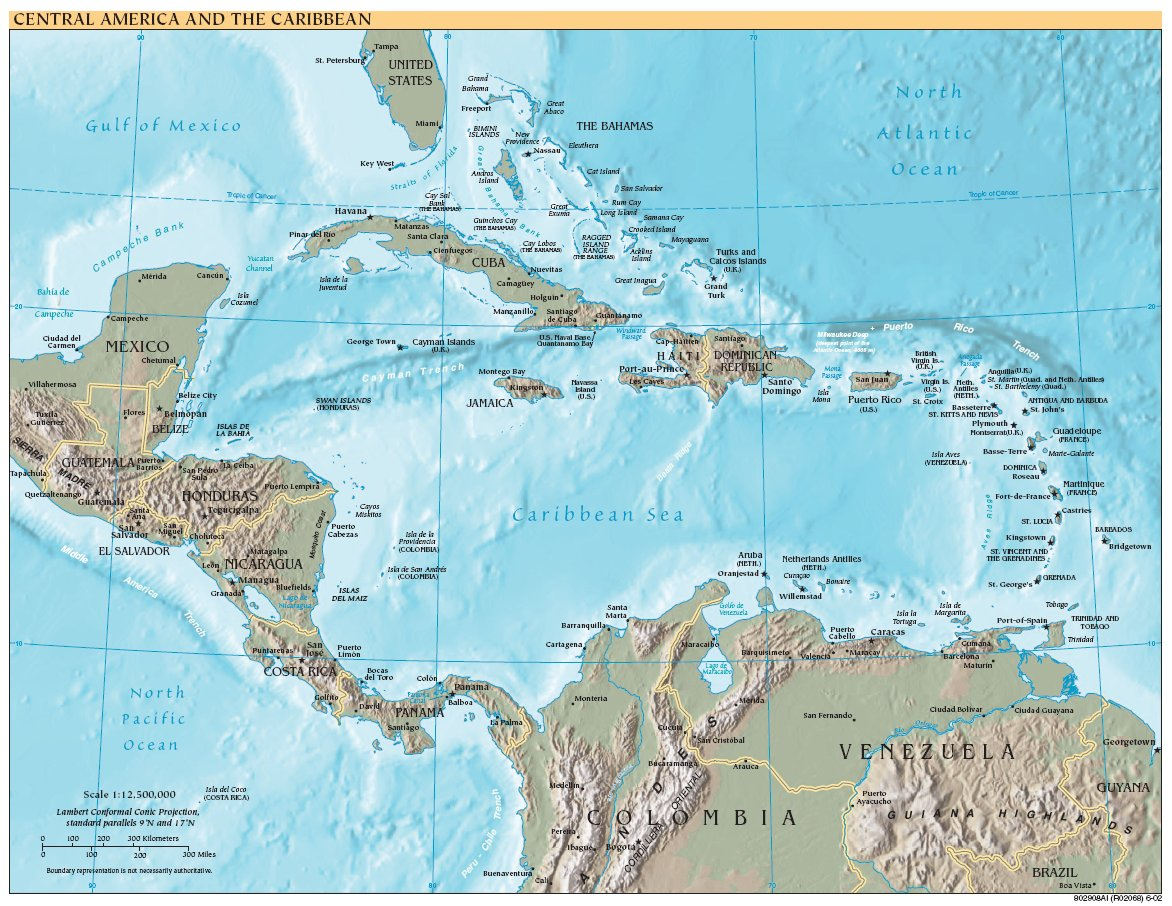 Free High Resolution Map Of Central America