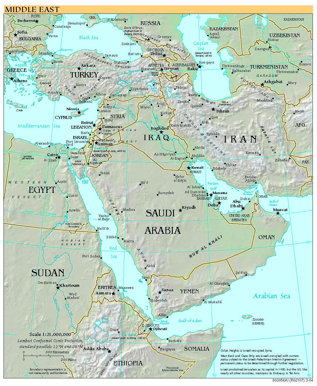 Middle East Map With Countries.Free High Resolution Map Of The Middle East