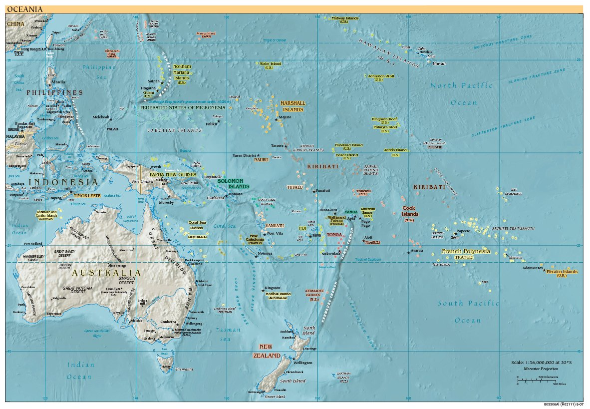 Free High Resolution Map of Oceania