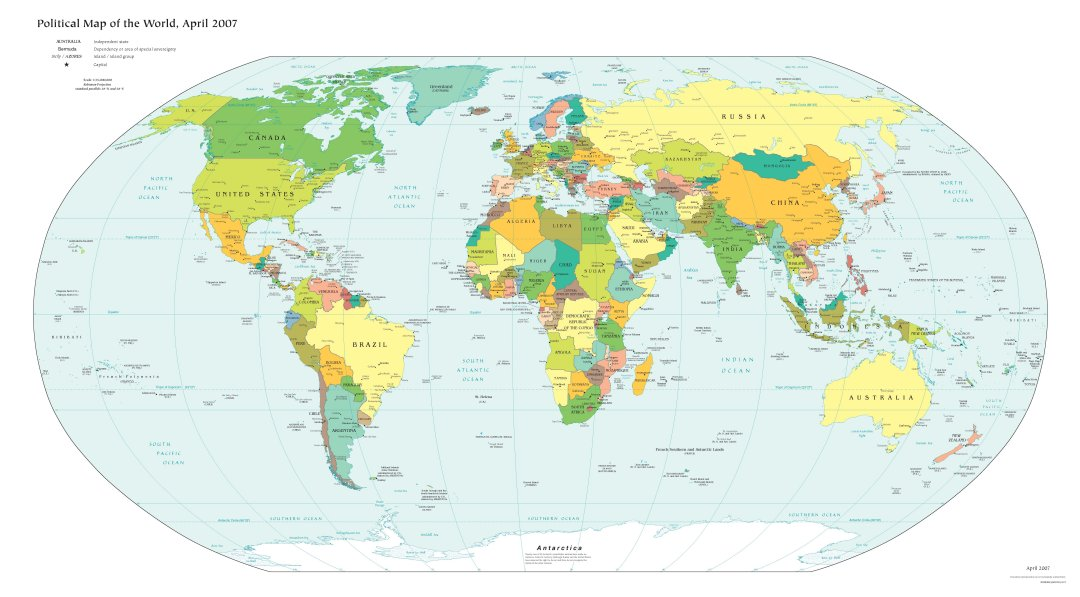 Free High Resolution Map of the Political World