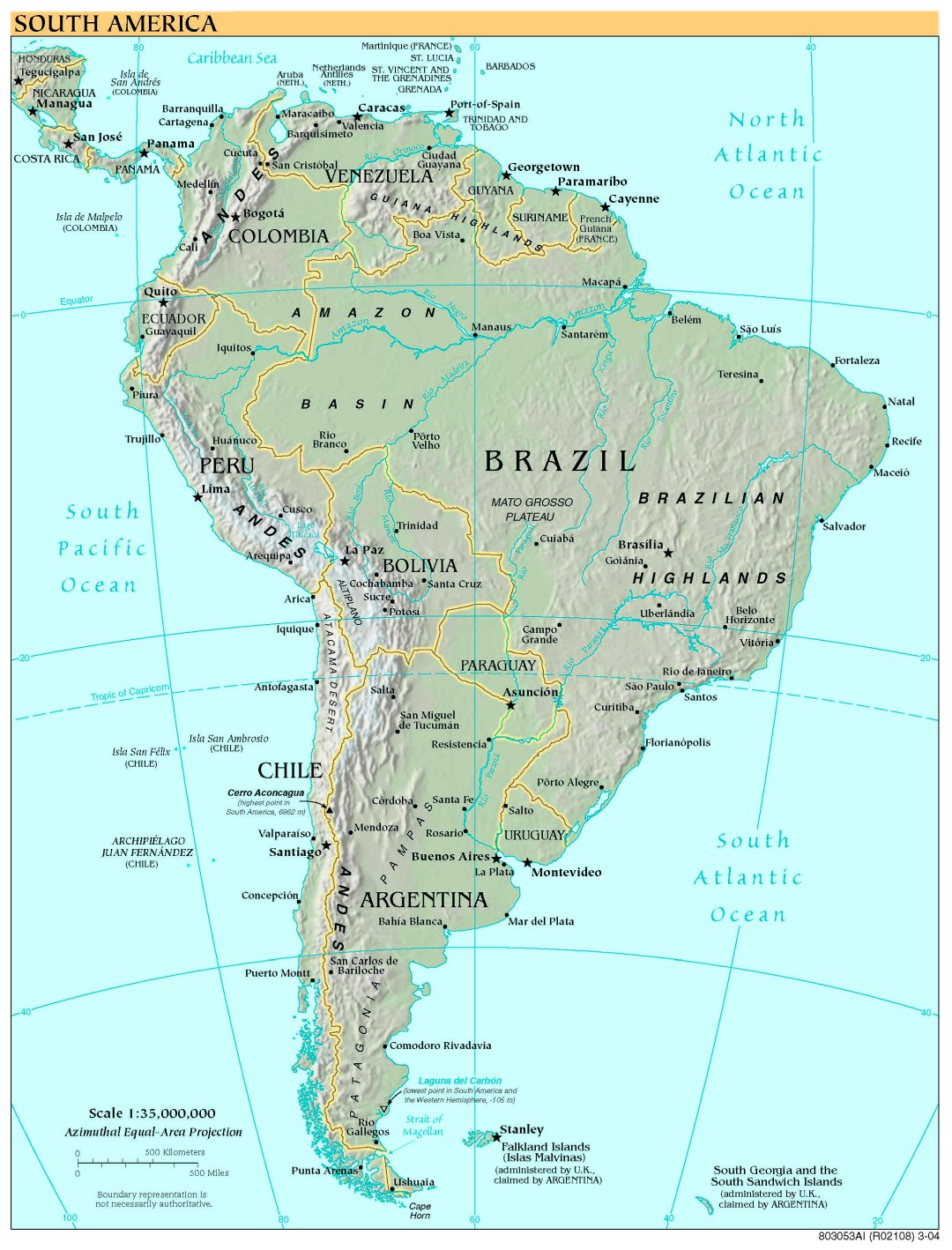 Free High Resolution Map of South America
