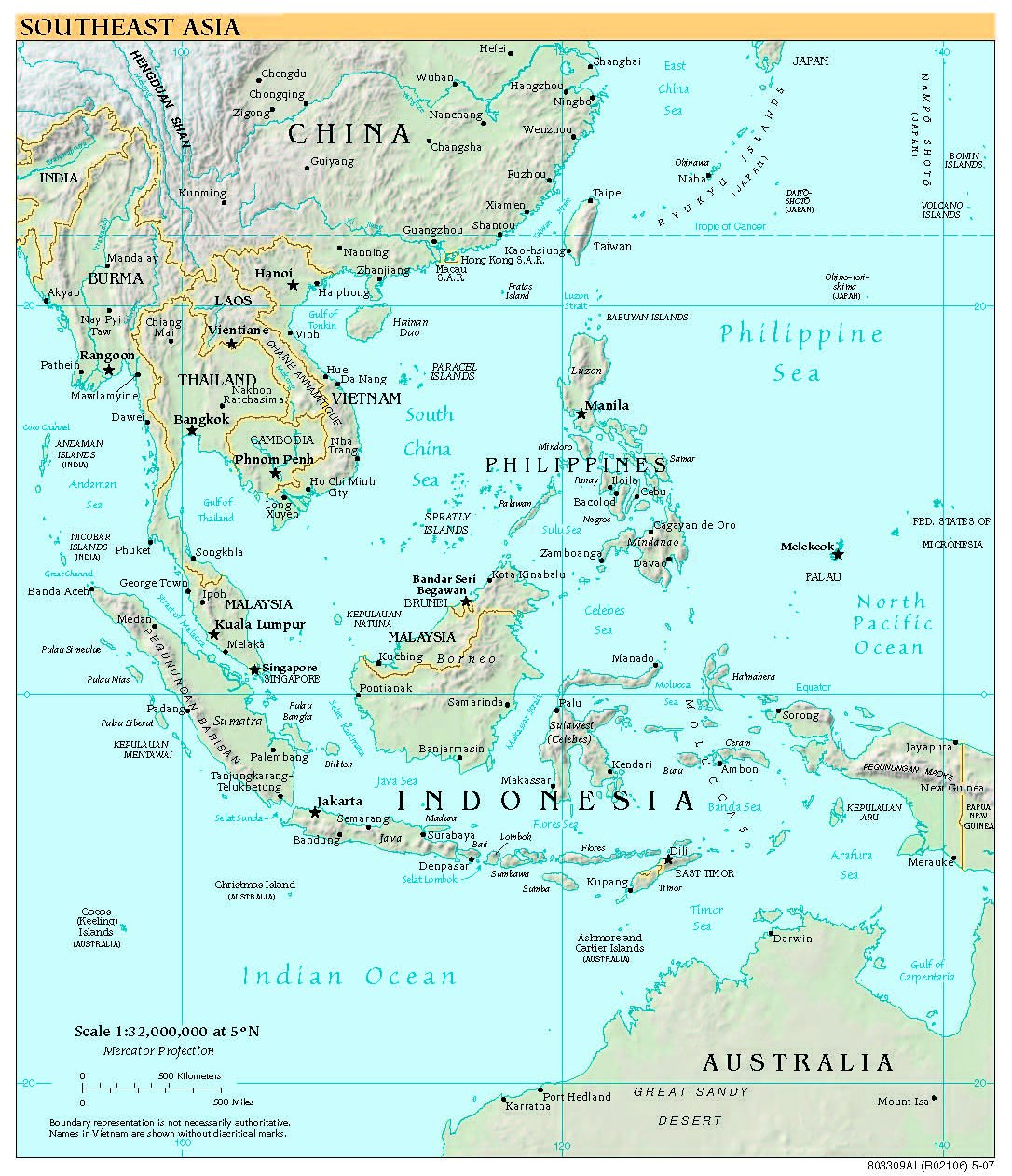 Free High Resolution Map of Southeast Asia