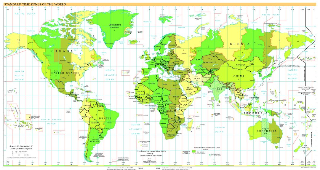 Free High Resolution Map of World Time Zones