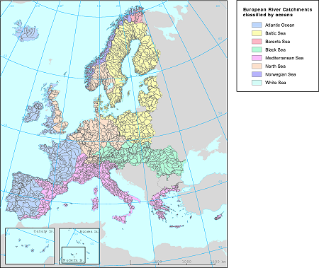 European River Catchments Geodata, Maps, Shapefiles