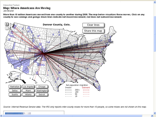 Maps Of Migration In And Out Of US Counties - Interactive map of migration in the us