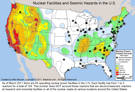 US Nuclear Reactor Power Plant Seismic Hazard Earthquake - Us map shapefile