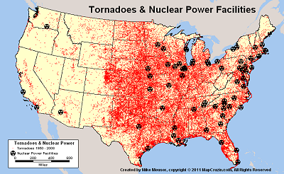 US Nuclear Reactor Power Plant Tornado History Like Fukushima - List of nuclear power plants in us map