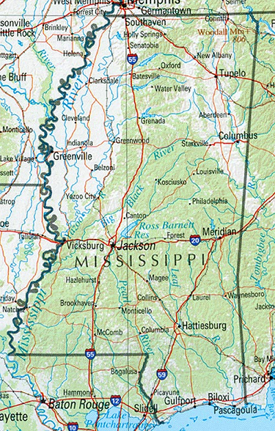 Mississippi reference map download