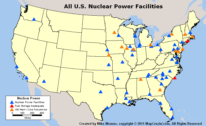 US Nuclear Reactor Power Plant Tornado History Like Fukushima - Us map shapefile