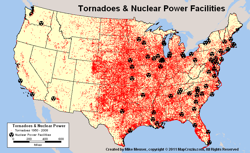 US Nuclear Reactor Power Plant Tornado History Like Fukushima - Map of all nuclear power plants in the us