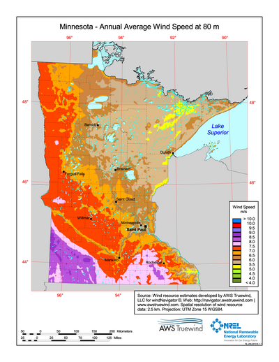 Download Free Minnesota Meter Wind Energy Maps Charts - Mn lake maps free