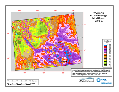 Free Wyoming State Map.Download Free Wyoming 80 Meter Wind Energy Maps Charts