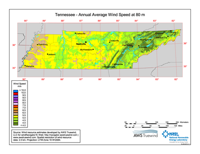 Download Free Tennessee 80 Meter Wind Energy Maps & Charts