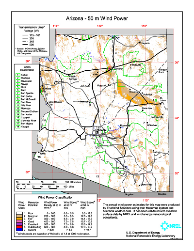 Arizona State Map Pdf.Download Free Arizona Wind Energy Maps