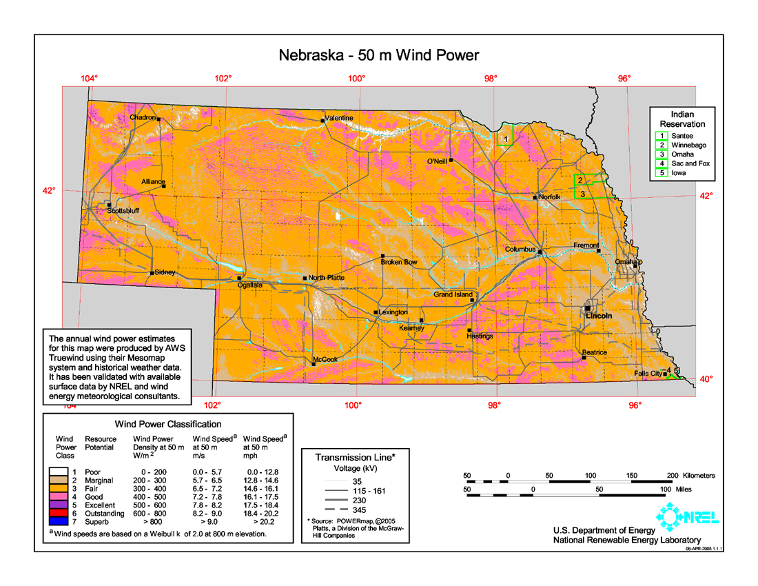 Free Nebraska Map.Download Free Nebraska Wind Energy Maps