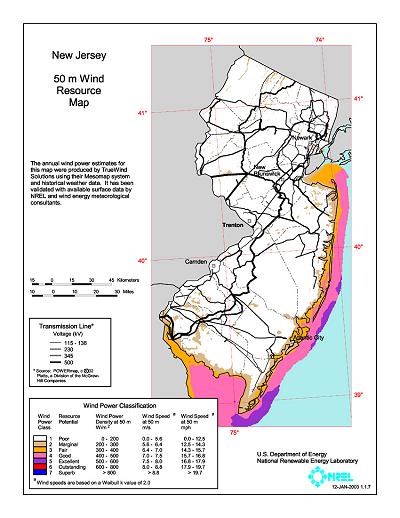 New Jersey Wind Map Shows The Wind Energy Resource At 30 Meters You Can View A Larger Version Or Download A Printable Map Pdf 1 1 M