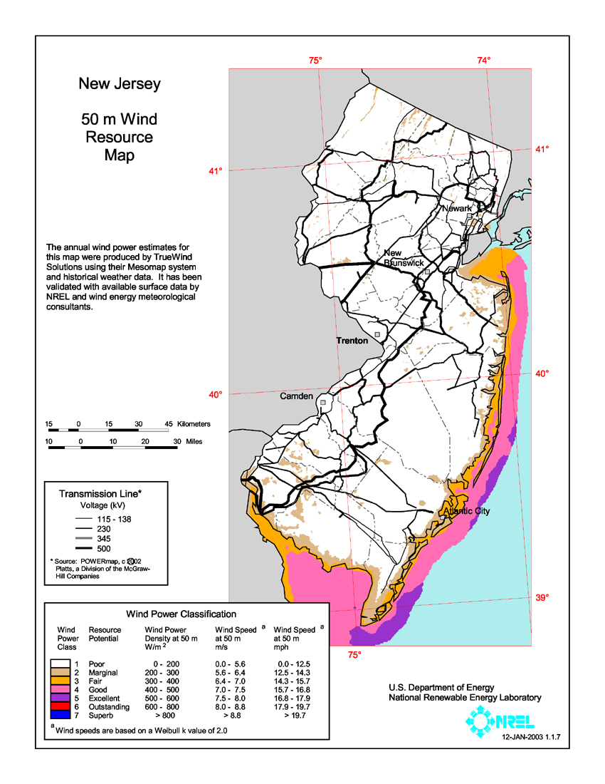 Download Free New Jersey Wind Energy Maps