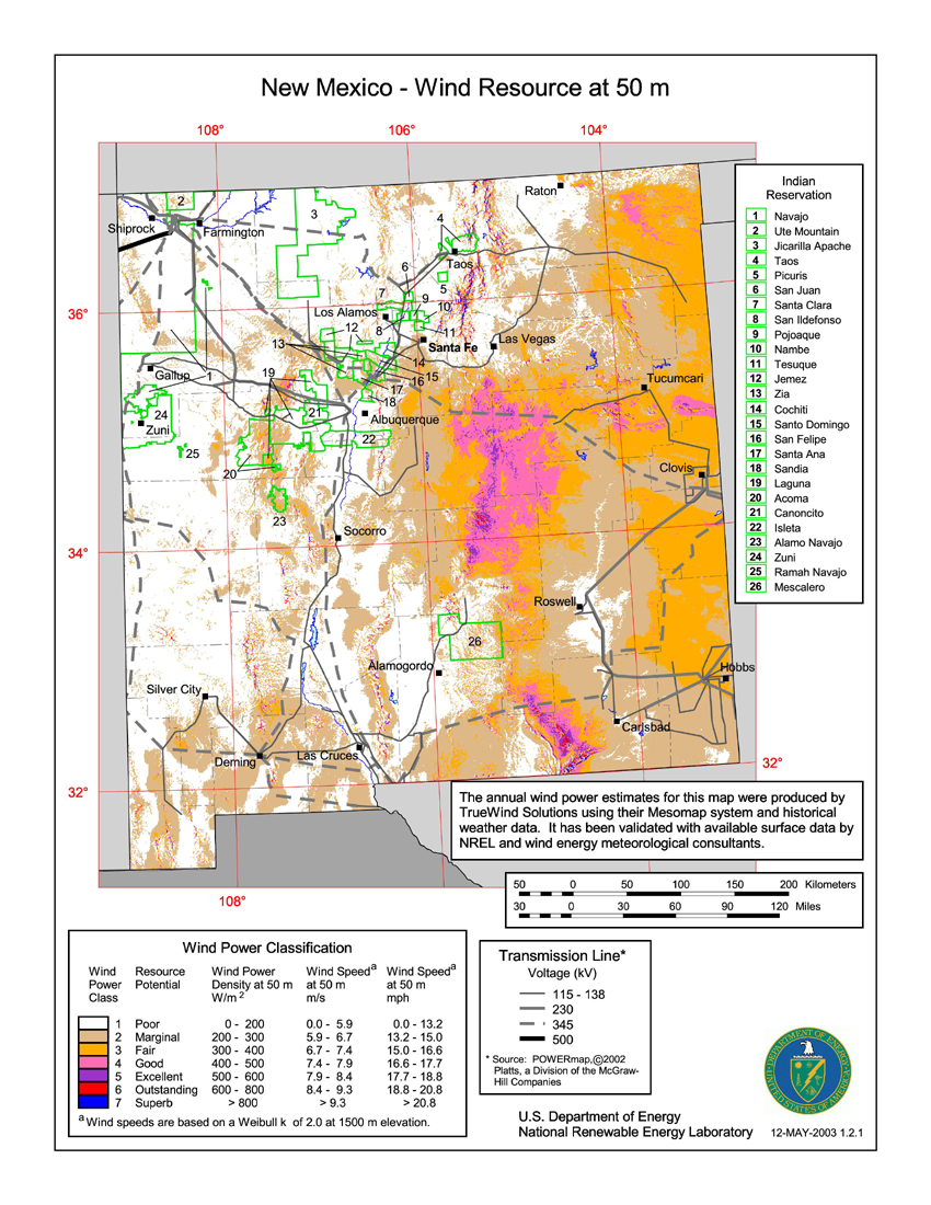Free New Mexico Map.Download Free New Mexico Wind Energy Maps